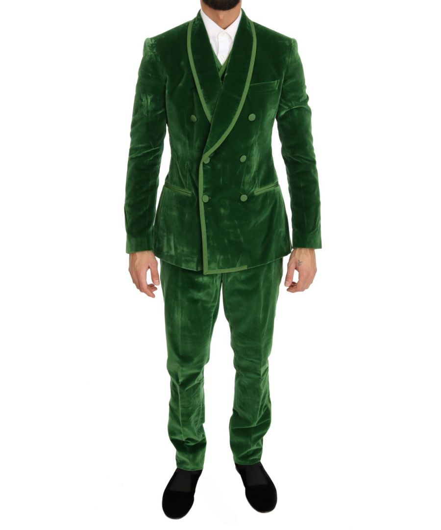 Image for Dolce & Gabbana Green Velvet Slim Fit Double Breasted Suit