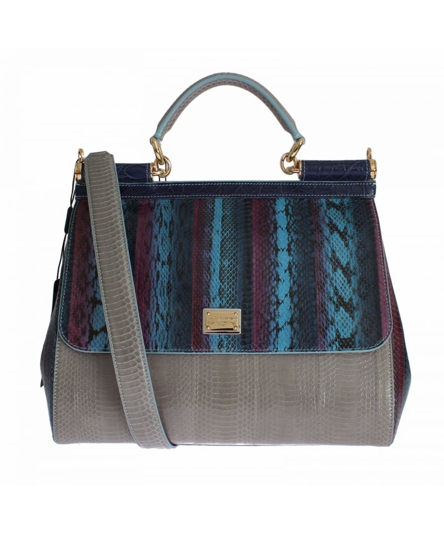 Image for Dolce & Gabbana Multicolor Caiman Snakeskin Leather SICILY Hand Bag