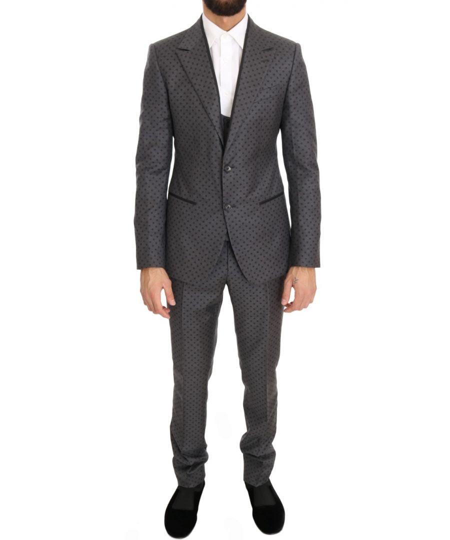 Image for Dolce & Gabbana Gray Polka Dotted Slim Fit 3 Piece Suit