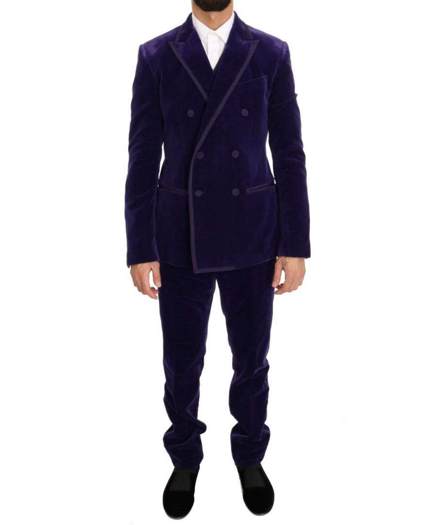 Image for Dolce & Gabbana Purple Velvet Slim Fit Double Breasted Suit