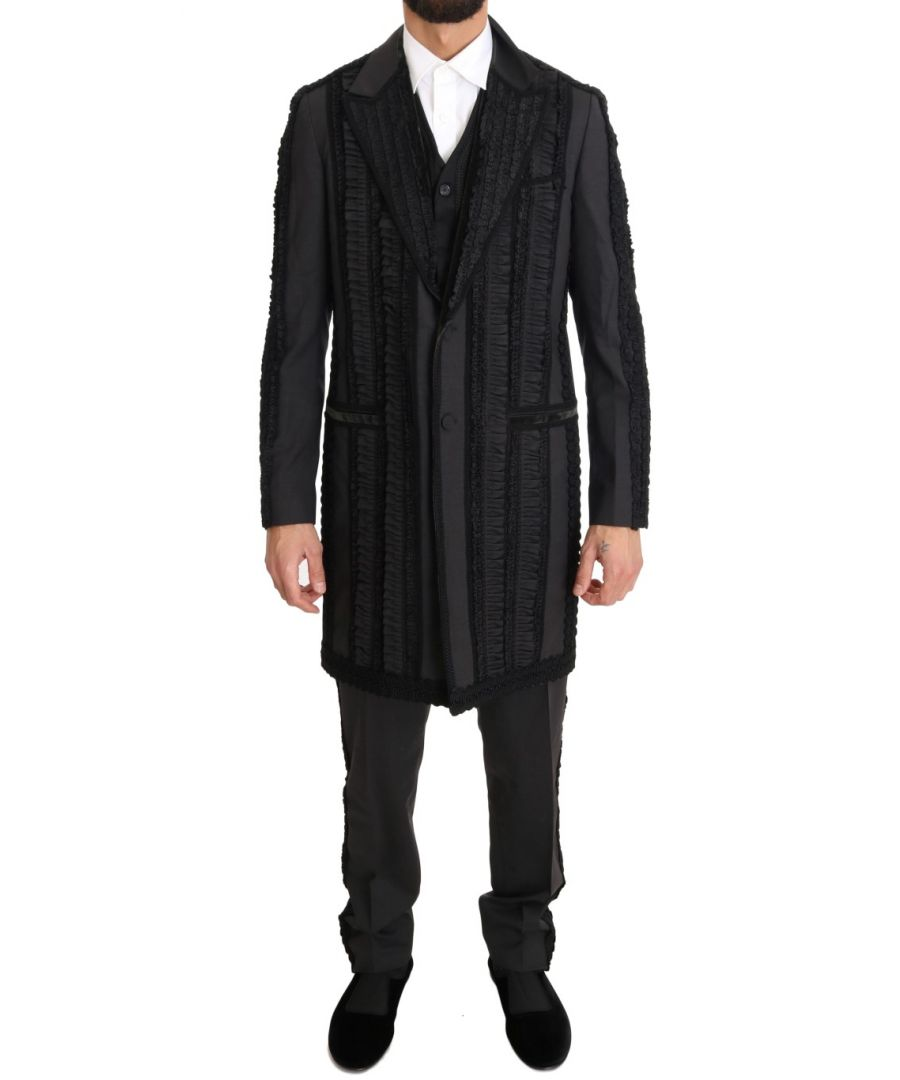 Image for Dolce & Gabbana Black Wool Silk Torero Long 3 Piece Suit
