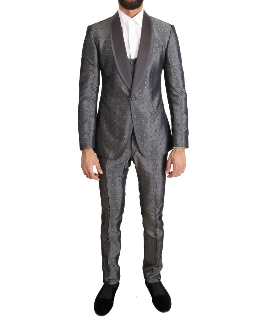 Image for Dolce & Gabbana Silver Silk Baroque Single Breasted Suit
