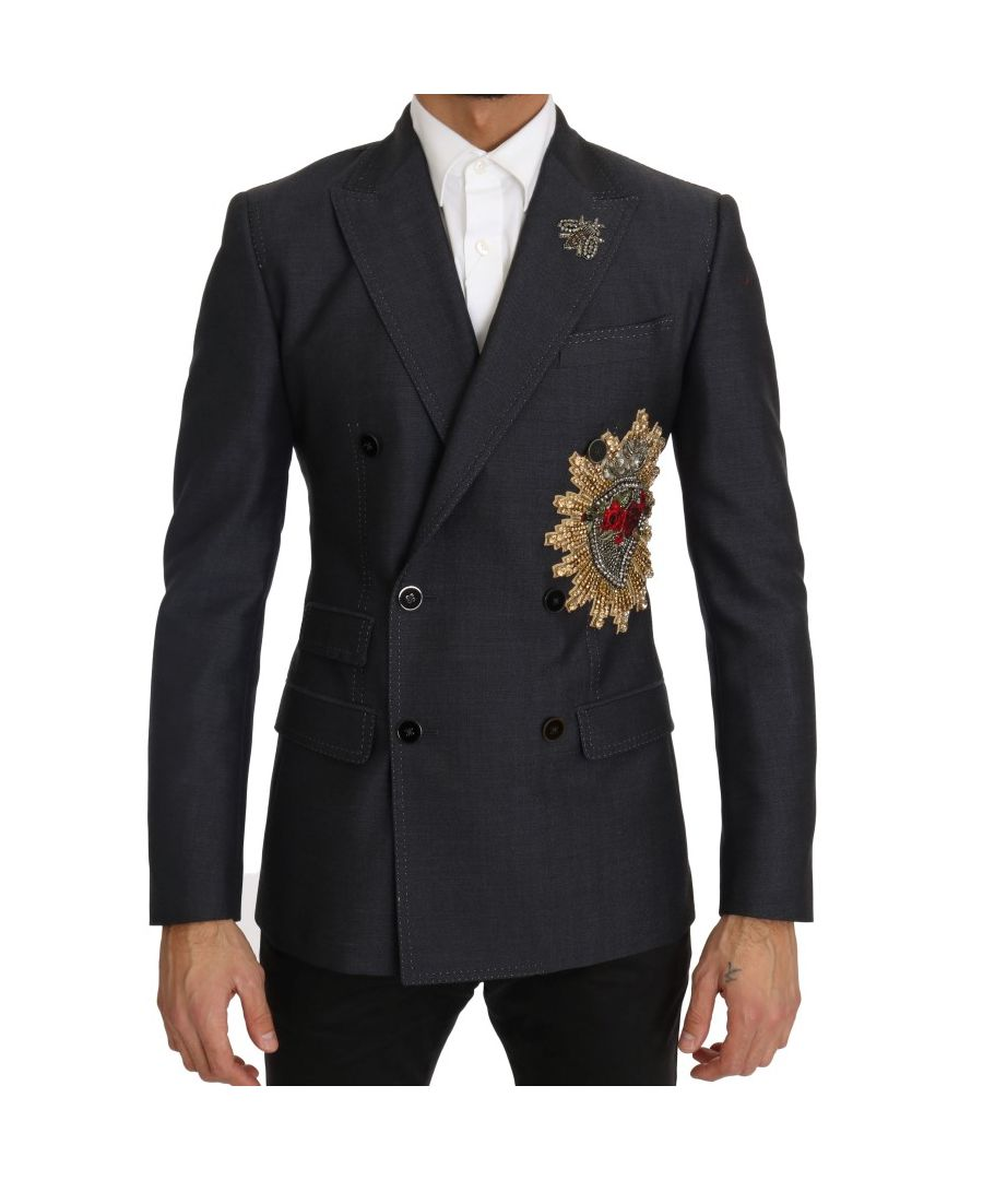 Image for Dolce & Gabbana Gray Crystal SICILY Heart Blazer