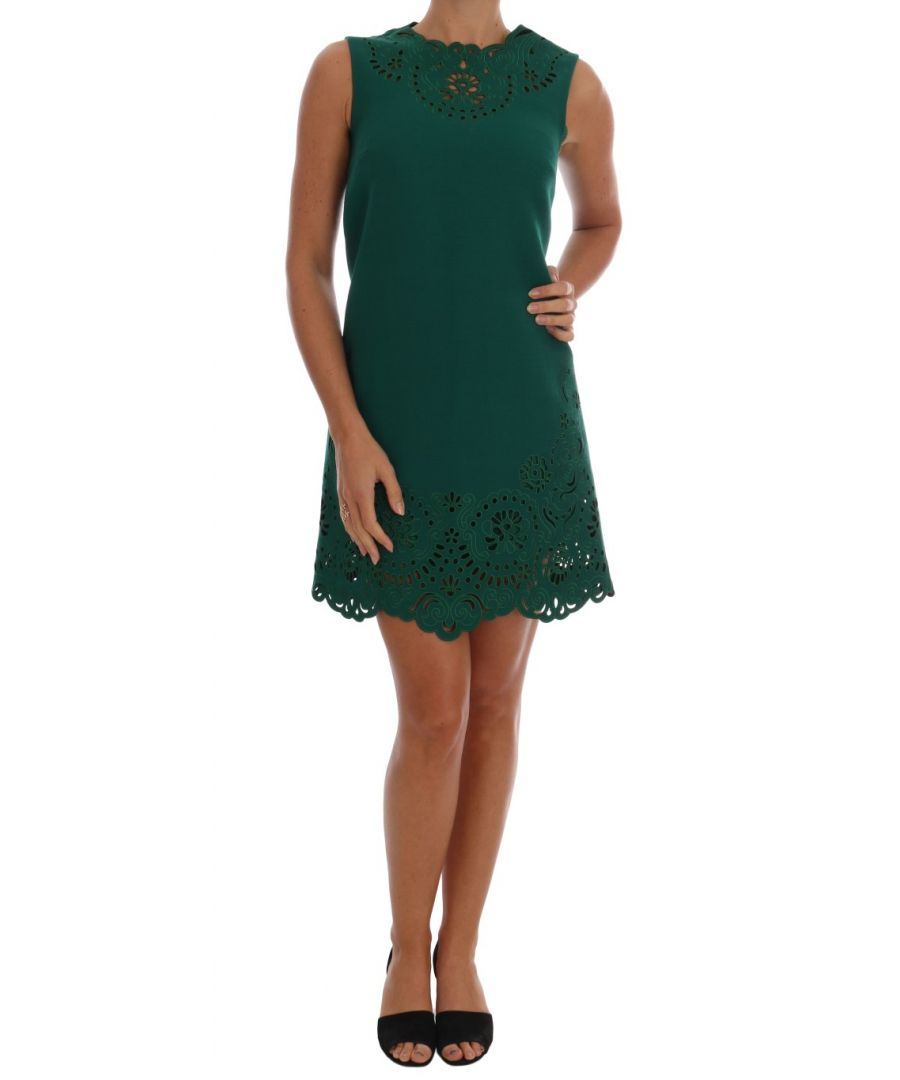 Image for Dolce & Gabbana Green Floral Cutout Silk Wool Dress