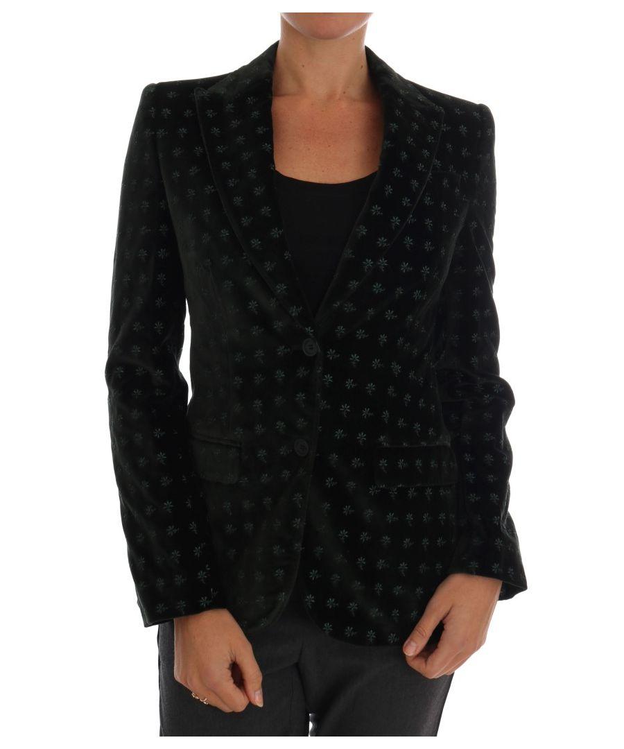 Image for Dolce & Gabbana Green Embroidered Velvet Blazer Jacket