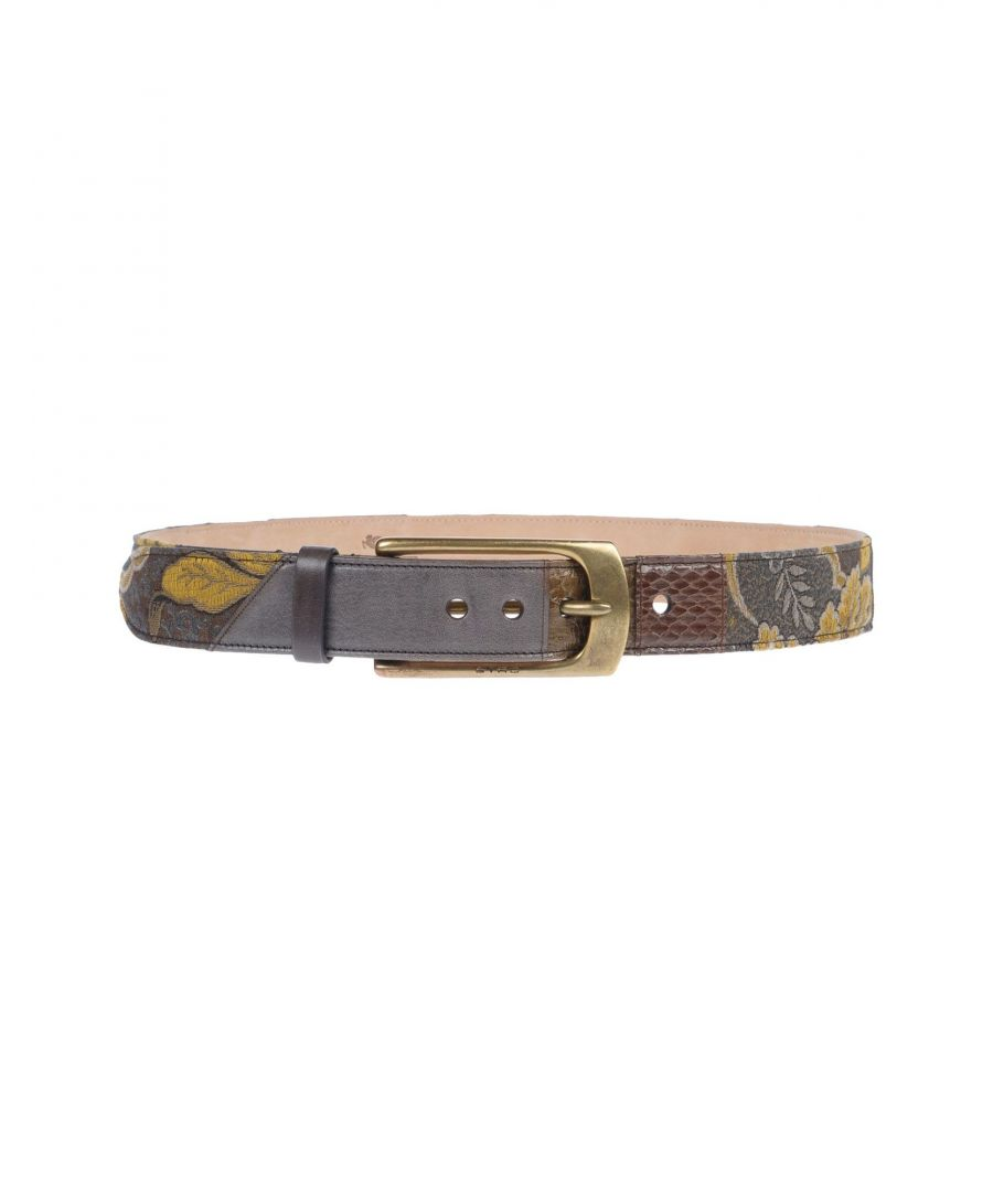 Image for Etro Ochre Patchwork Pattern Leather Belt