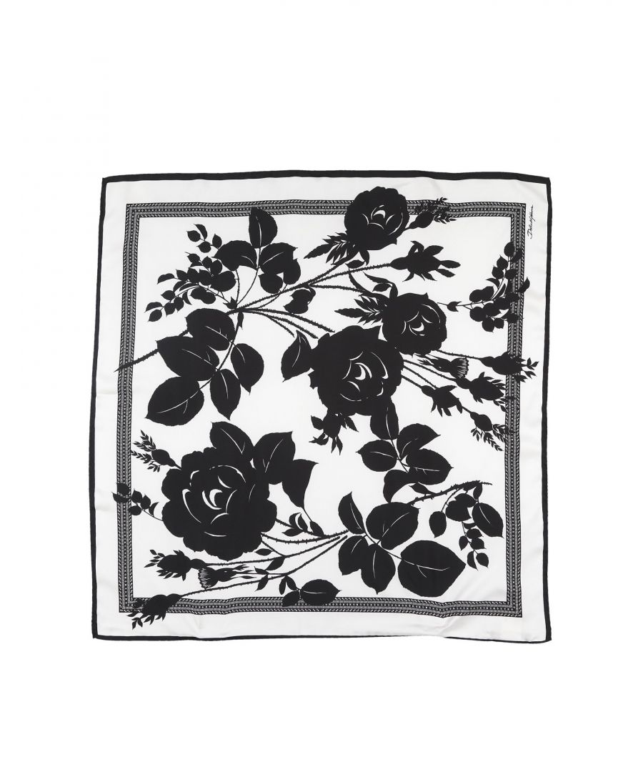 Image for Dolce & Gabbana White Silk Floral Design Scarf
