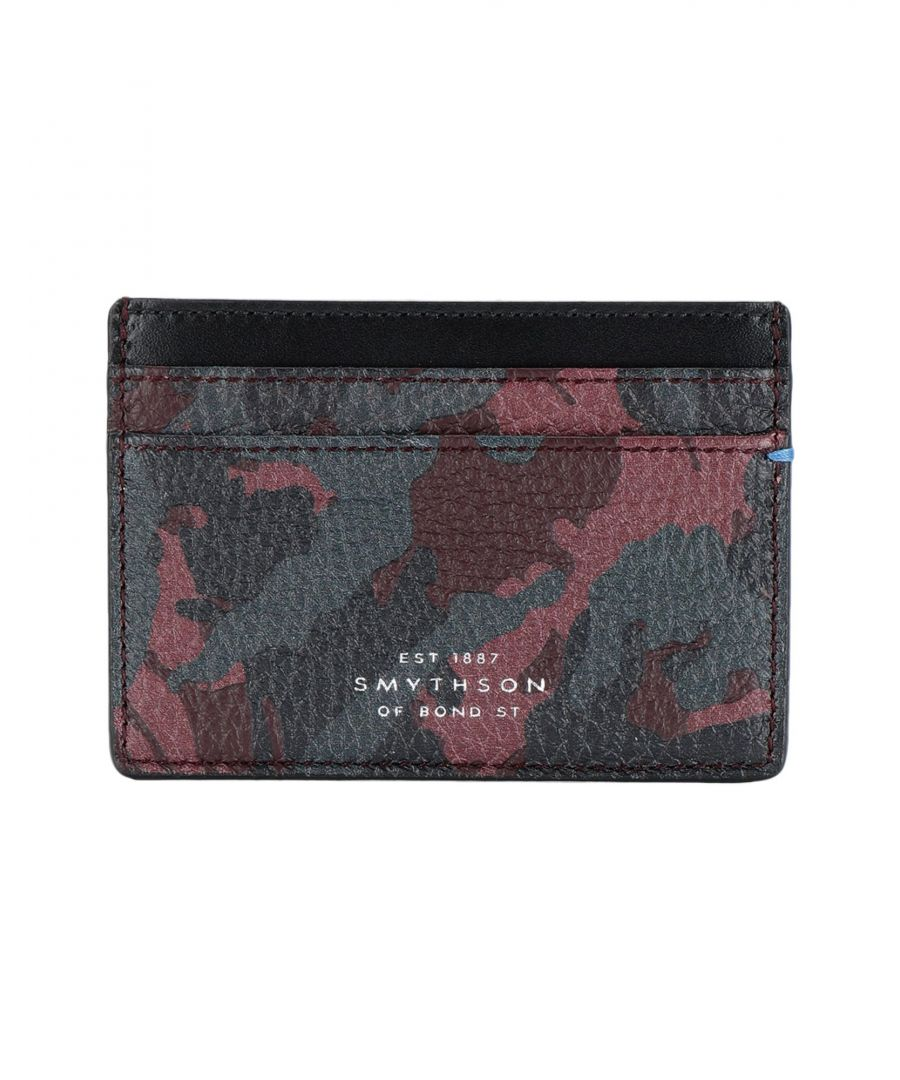 Image for Smythson Maroon Camouflage Textured Leather Card Holder