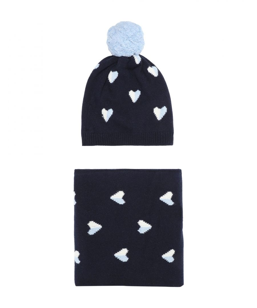 Image for Chinti & Parker Dark Blue Merino Wool Hat And Scarf Set