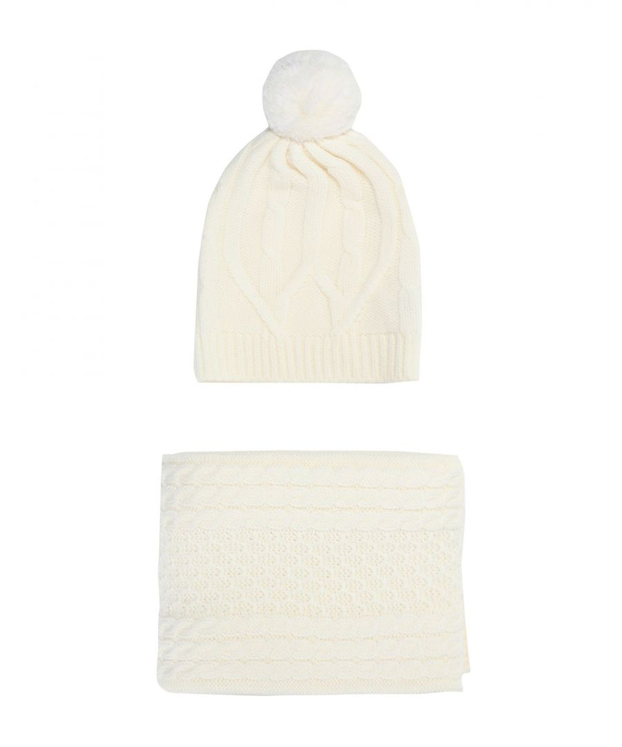 Image for Chinti & Parker Ivory Merino Wool Cable Set Hat And Scarf Set