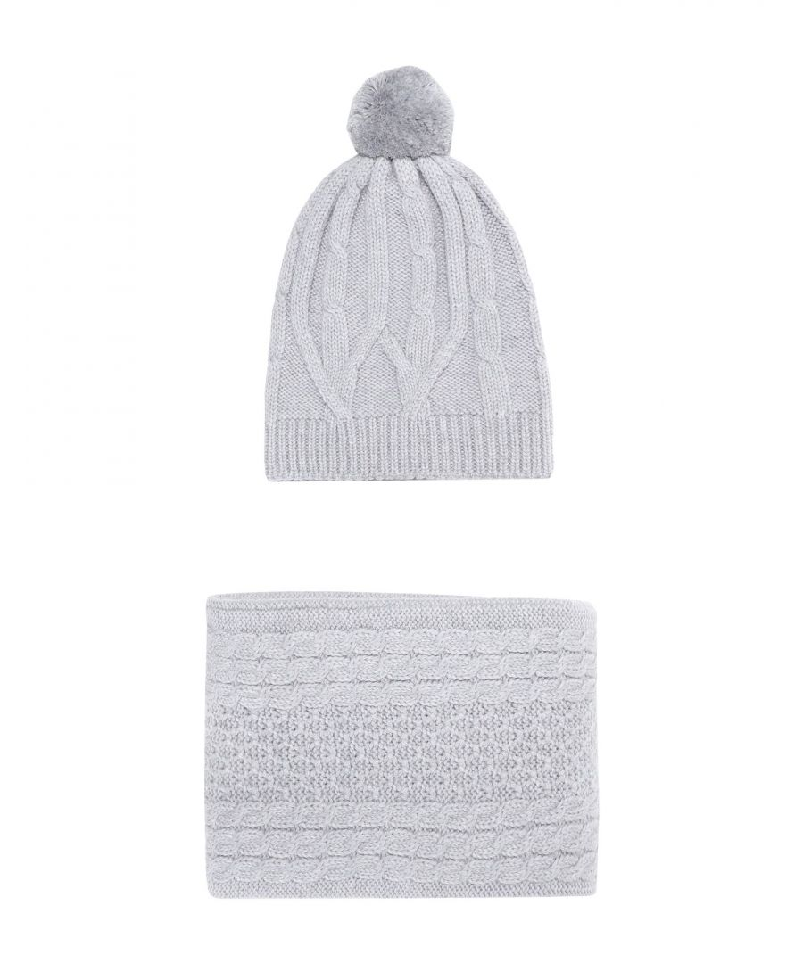 Image for Chinti & Parker Light Grey Merino Wool Knit Hat And Scarf Set