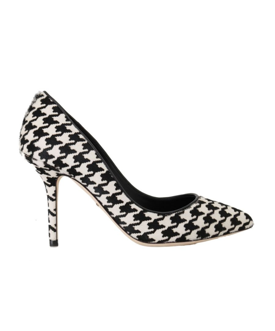 Image for Dolce & Gabbana White Black Hair Leather Pumps