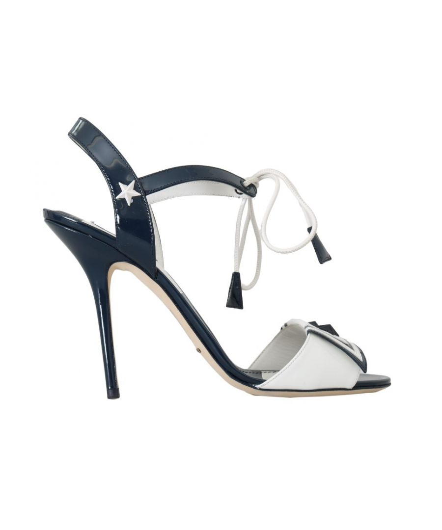 Image for Dolce & Gabbana Blue White Leather Sandals MARINA Shoes