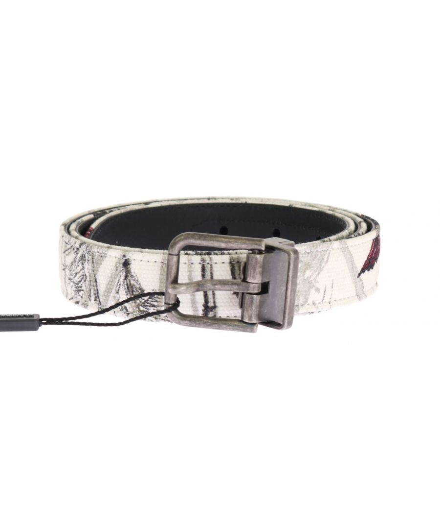 Image for Dolce & Gabbana White Denim Bird Print Leather Belt