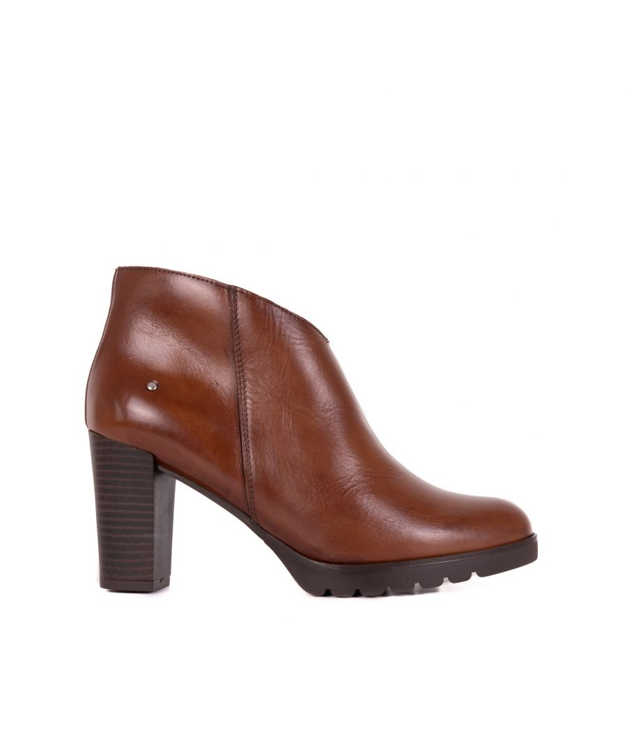 Image for Women's Heeled Leather Ankle Boot in Brown