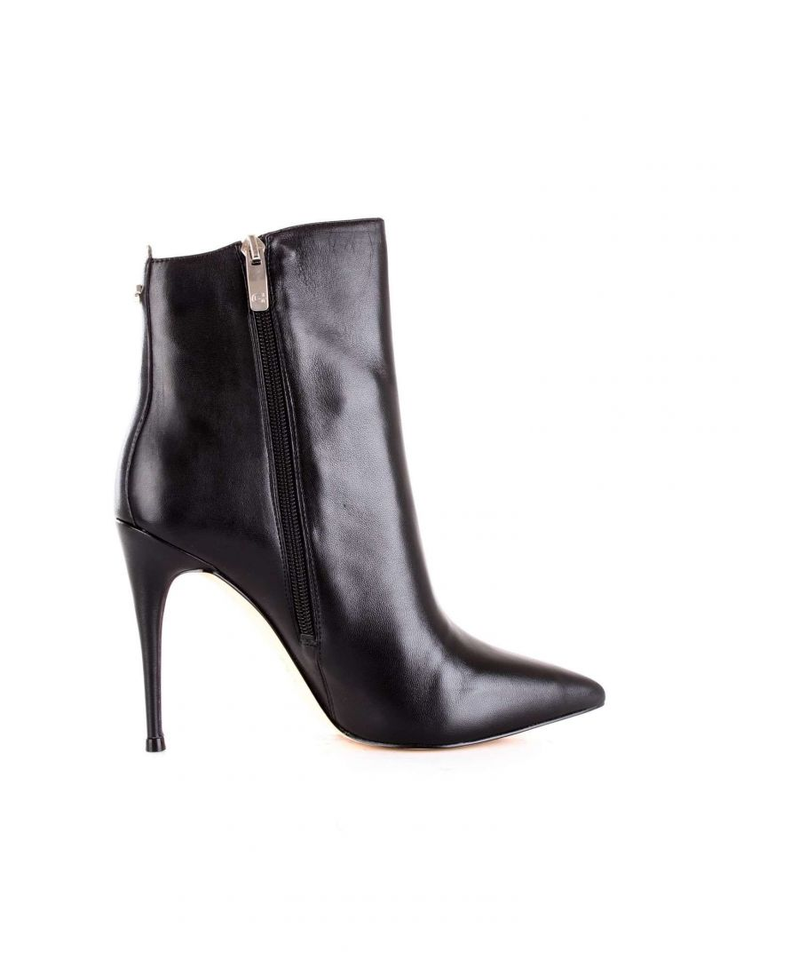 Image for GUESS WOMEN'S FLOND4LEA09BLACK BLACK LEATHER ANKLE BOOTS