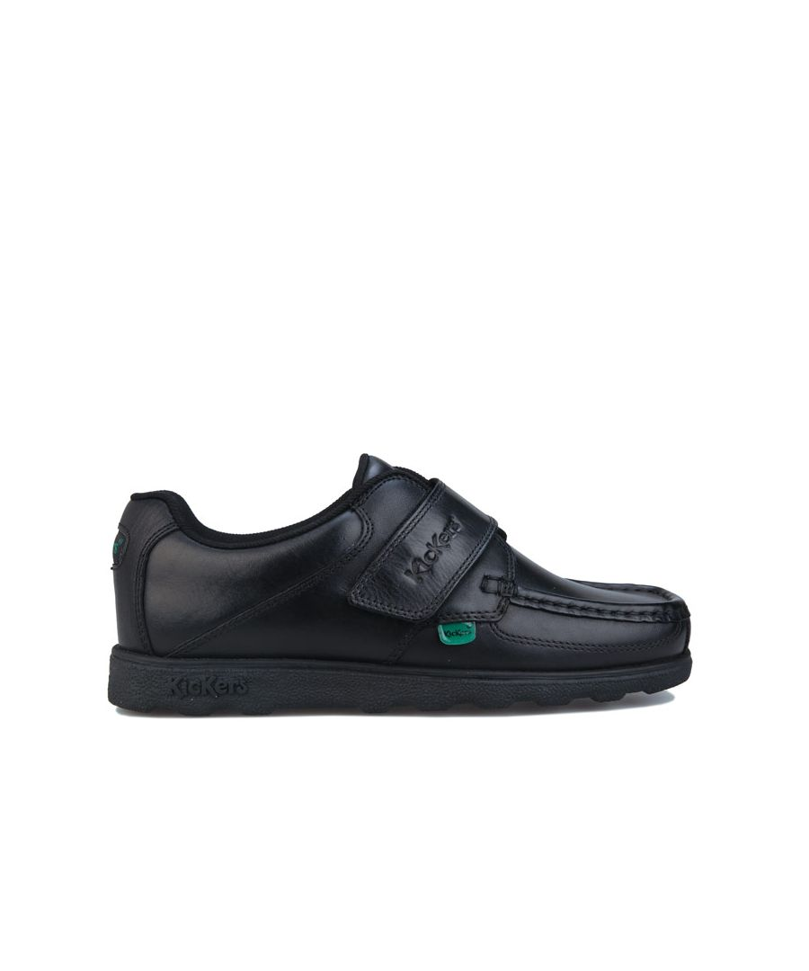 Image for Boys' Kickers Junior Fragma Strap Leather Shoe in Black