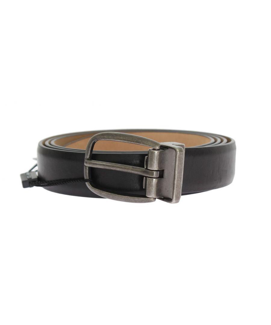 Image for Dolce & Gabbana Black Leather Gray Buckle Belt