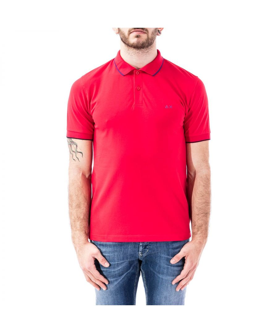 Image for SUN 68 MEN'S A3010630 RED COTTON POLO SHIRT