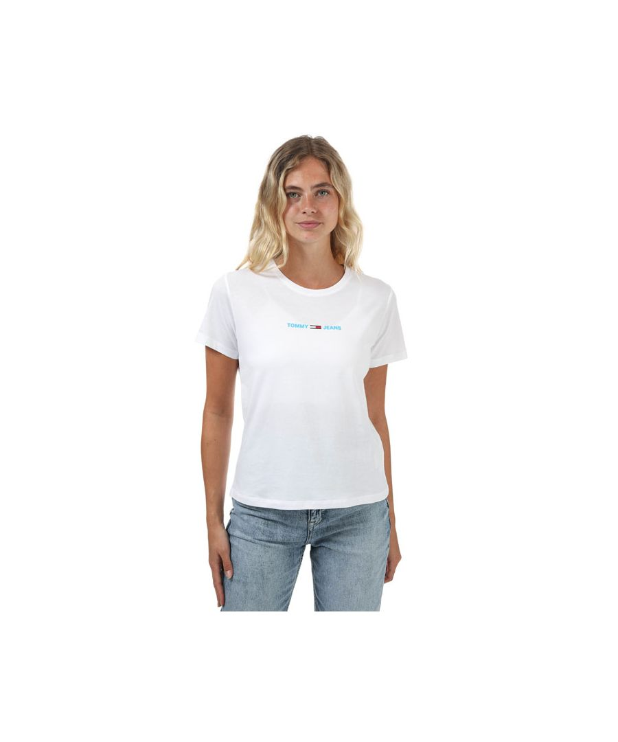Image for Women's Tommy Hilfiger Logo Embroidery Slim Fit T-Shirt in White