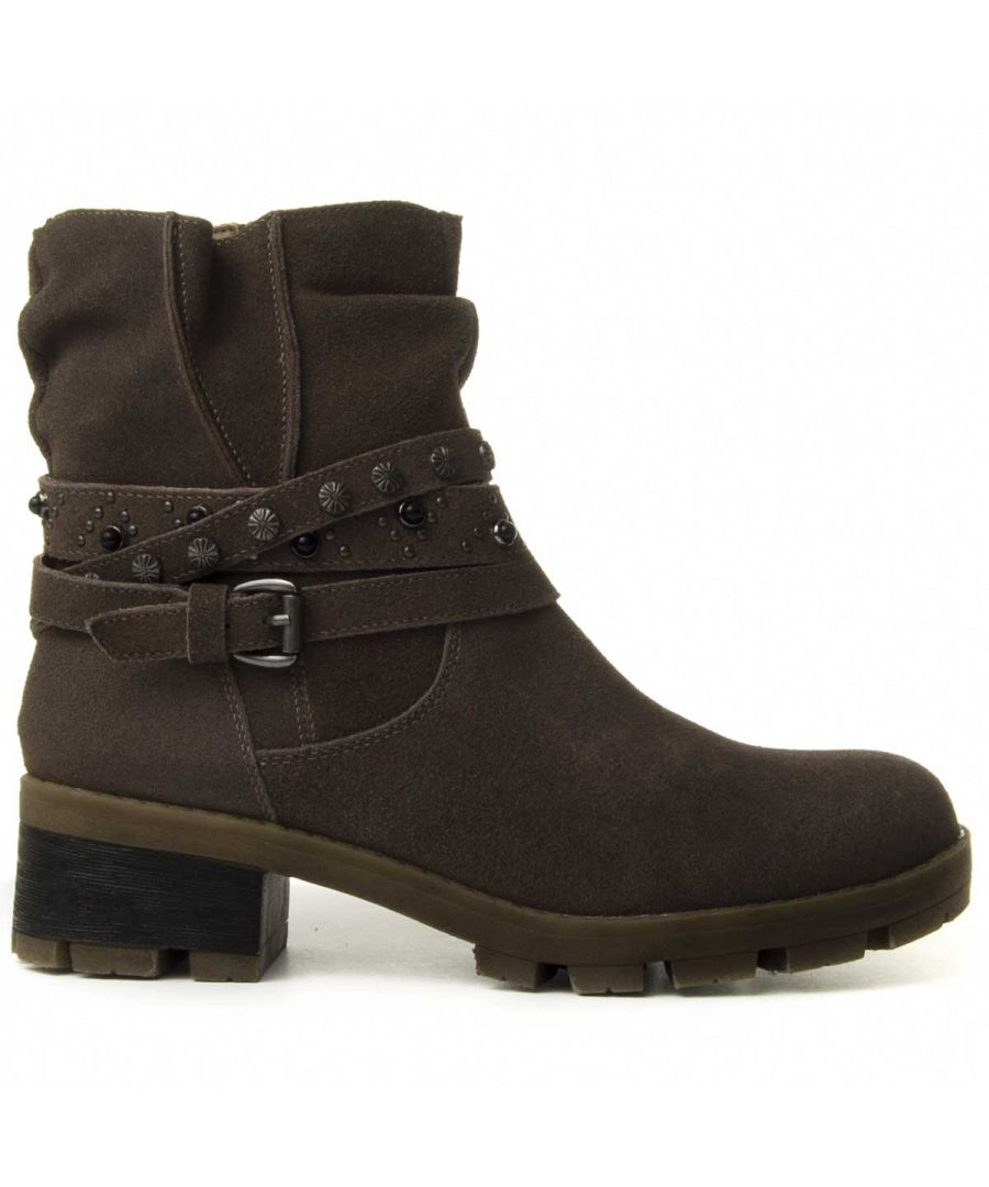 Image for Purapiel Buckle Wrap Boot in Taupe