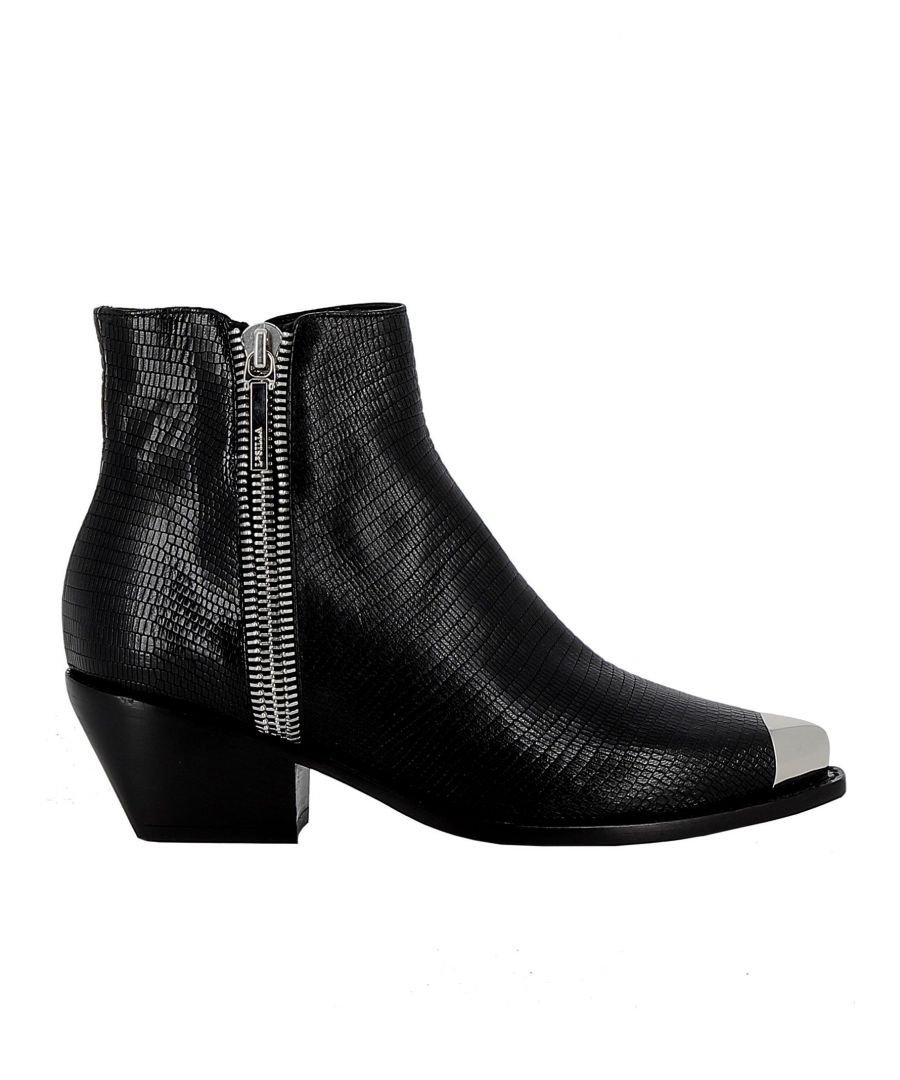 Image for LE SILLA WOMEN'S 3801N040M1PPIDR001 BLACK LEATHER ANKLE BOOTS