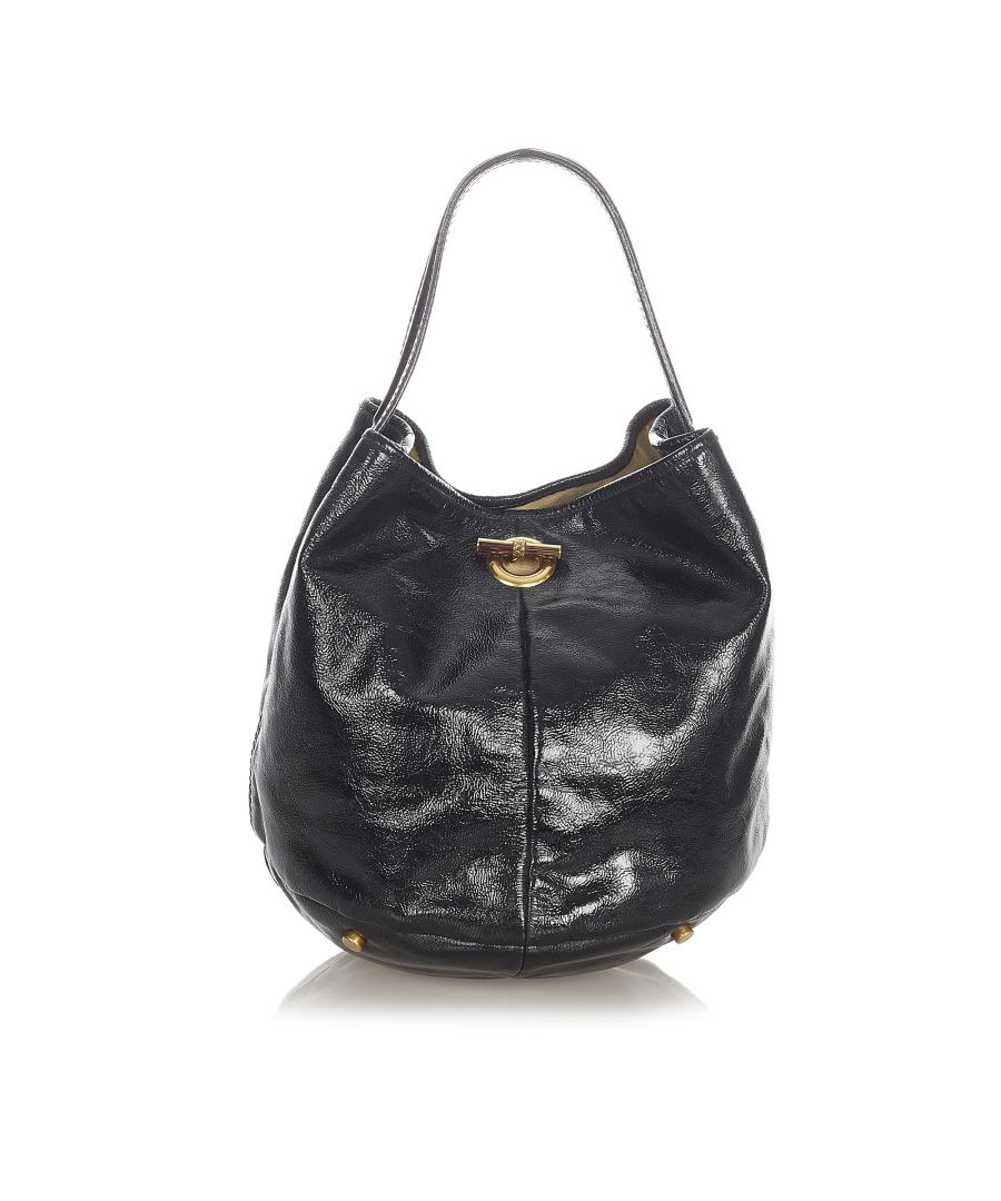 Image for Vintage YSL Capri Patent Leather Bucket Bag Black