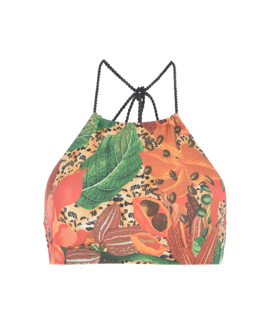 Image for Agua De Coco Por Liana Thomaz Rust Floral Print High Neck Bikini Top