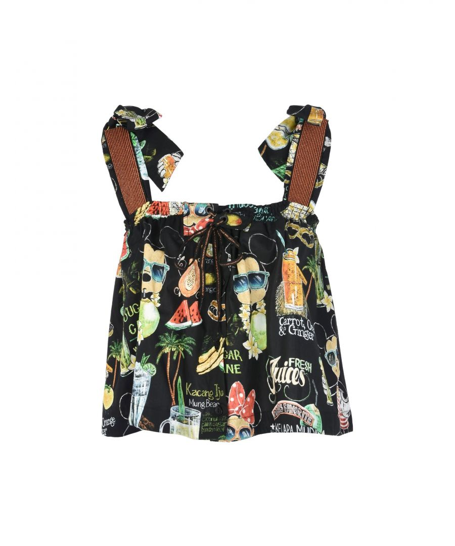 Image for Agua De Coco Por Liana Thomaz Black Print Cotton Camisole