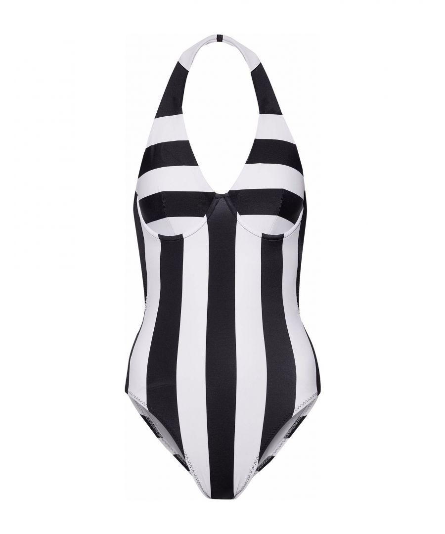 Image for Norma Kamali White Stripe Halterneck Swimsuit