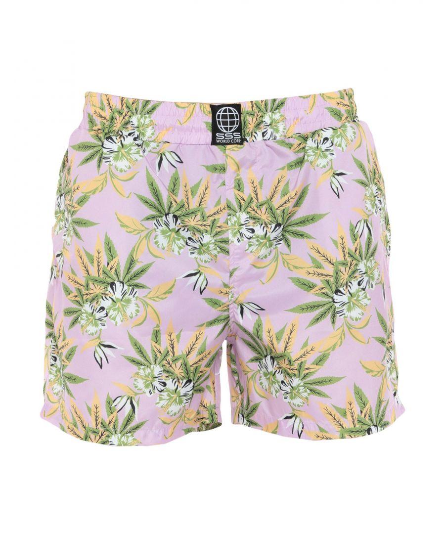 Image for Sss World Corp. Light Purple Print Swim Shorts
