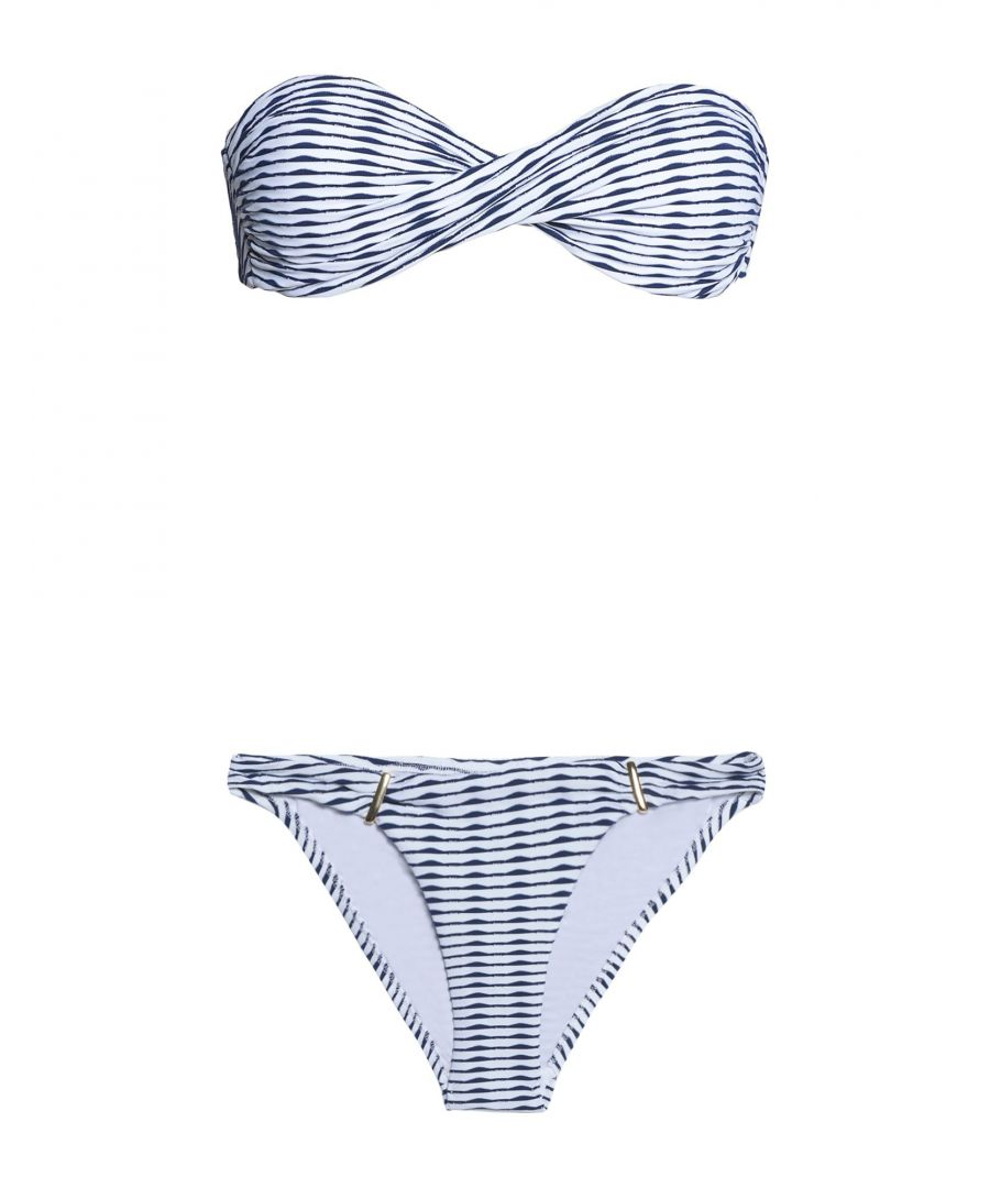 Image for Melissa Odabash Dark Blue Stripe Bandeau Bikini Set