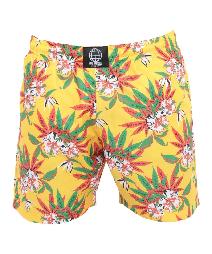 Image for Sss World Corp. Ochre Floral Print Swim Shorts