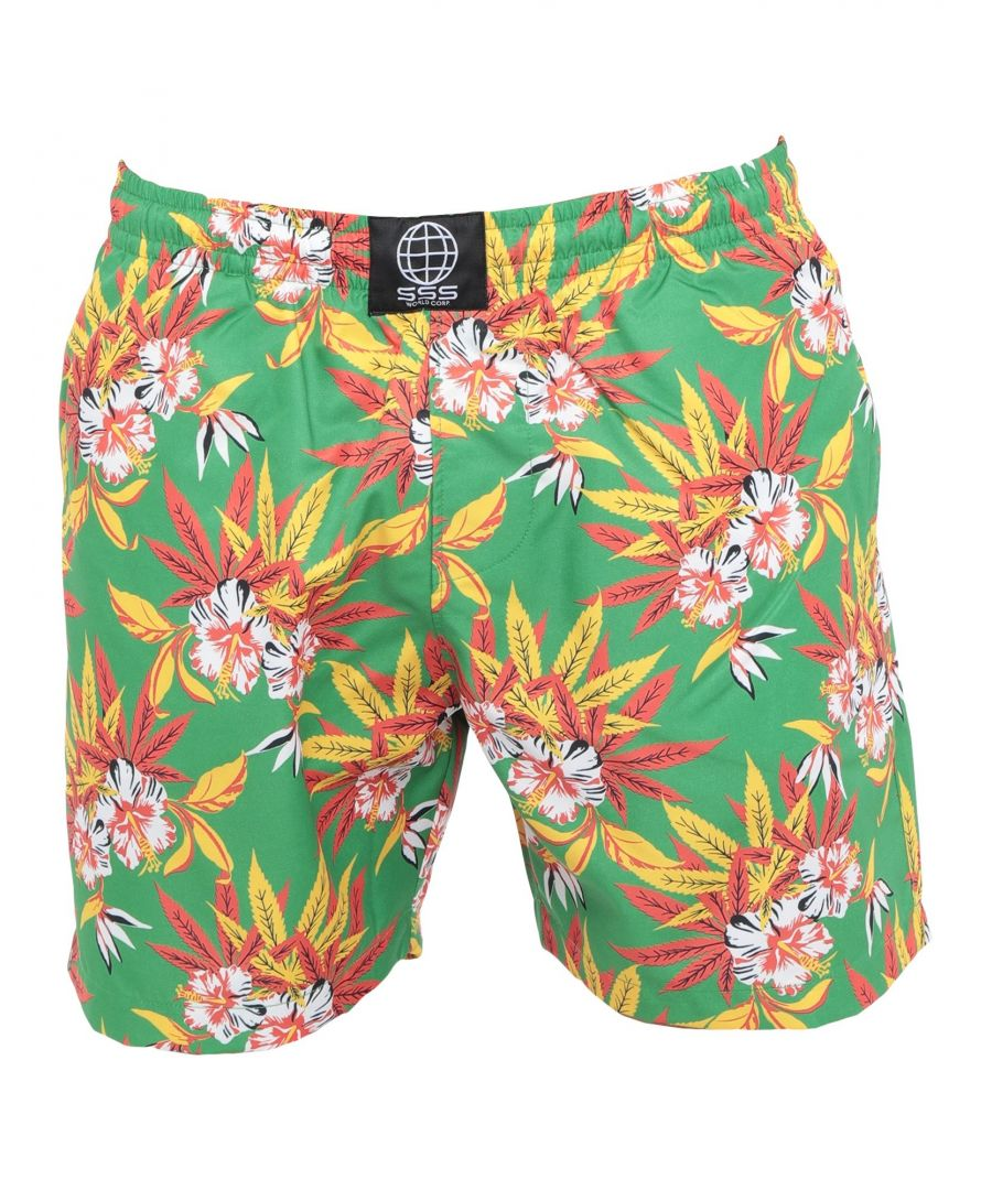 Image for Sss World Corp. Green Print Swim Shorts