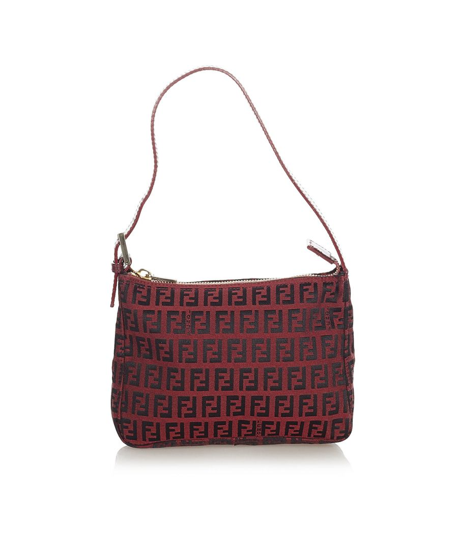 Image for Vintage Fendi Zucchino Canvas Baguette Red