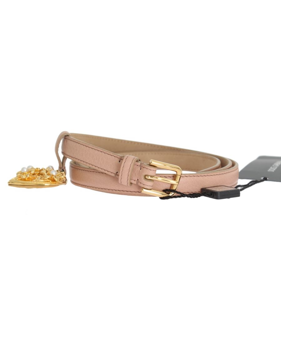 Image for Dolce & Gabbana Beige Leather MAMMA Gold Heart Belt