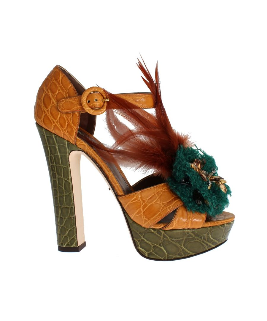 Image for Dolce & Gabbana Caiman Crocodile Leather Crystal Shoes
