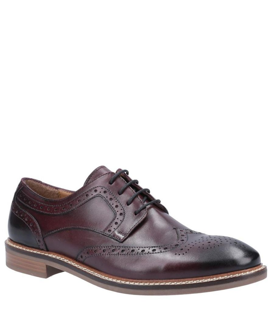 Image for Hush Puppies Mens Bryson Leather Shoes (Bordeaux Red)