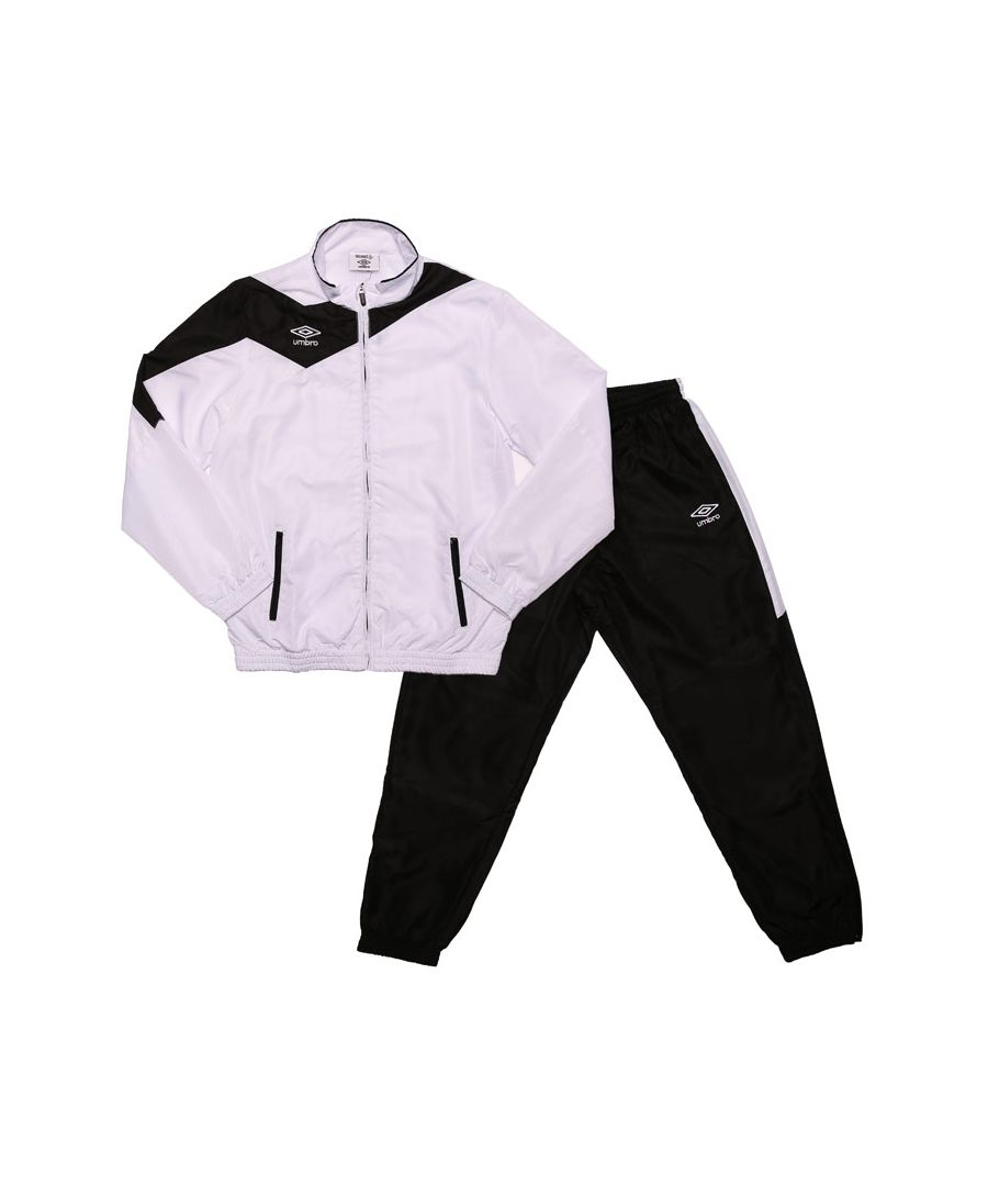 Image for Boy's Umbro Junior Division Lined Tracksuit in White Black