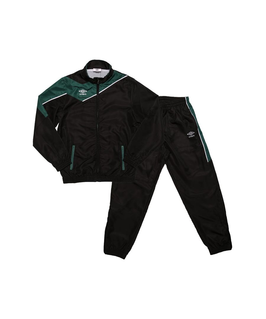 Image for Boy's Umbro Junior Division Lined Tracksuit in black green