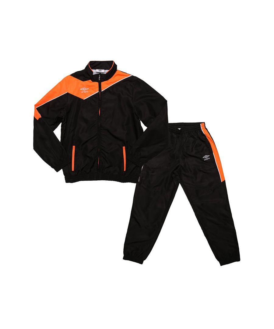 Image for Boy's Umbro Junior Division Lined Tracksuit in black orange