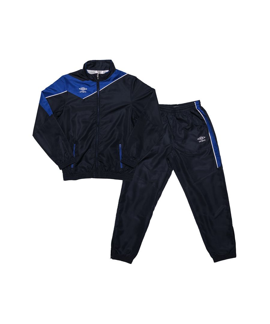 Image for Boy's Umbro Junior Division Lined Tracksuit in Navy