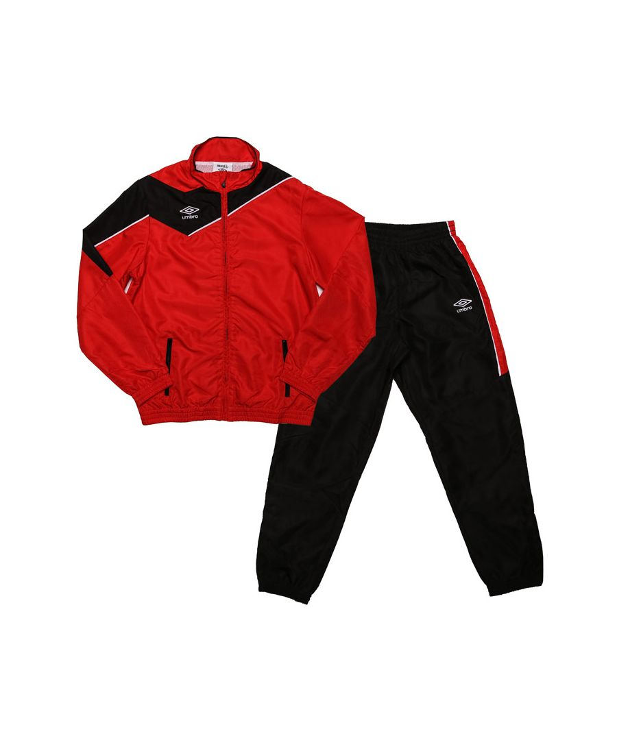 Image for Boy's Umbro Junior Division Lined Tracksuit in red black