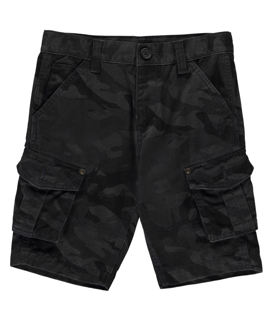 Image for Firetrap Boys Camo Print Cargo Shorts Infant Zip Soft Cotton Elasticated Waist