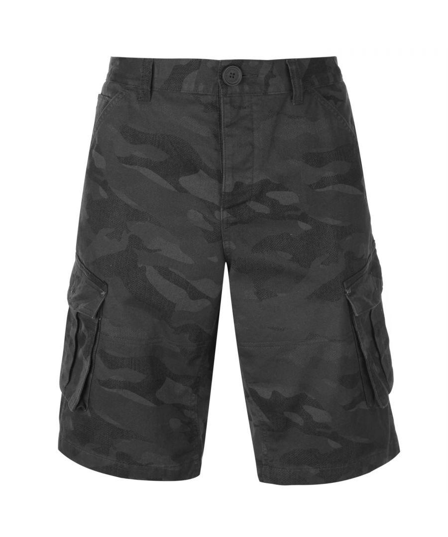 Image for Firetrap Mens BTK Shorts Cargo Pants Bottoms 100% Cotton Camo Design 6 Pockets