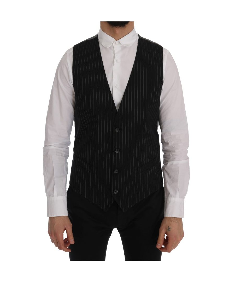Image for Dolce & Gabbana Black STAFF Cotton Striped Vest