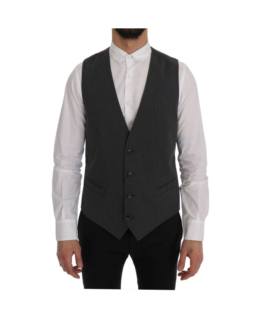 Image for Dolce & Gabbana Gray STAFF Cotton Striped Vest
