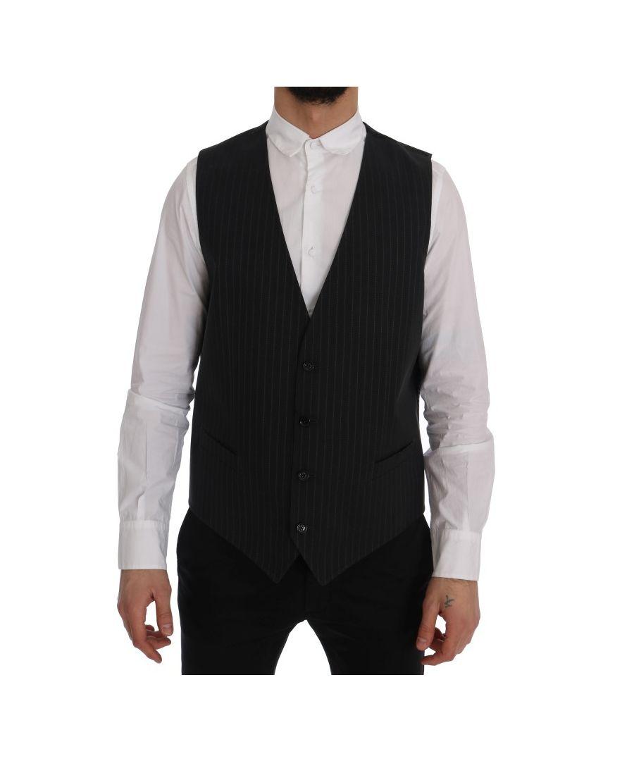 Image for Dolce & Gabbana Gray STAFF Cotton Striped Vest