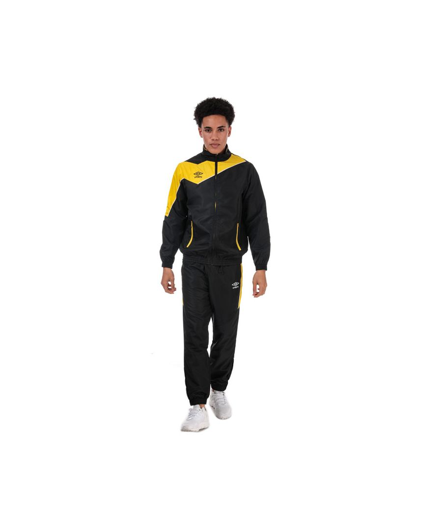 Image for Men's Umbro Division Lined Tracksuit in Black yellow