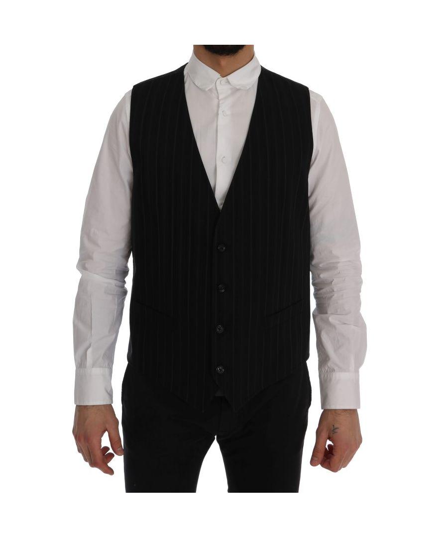 Image for Dolce & Gabbana Black  STAFF Cotton Striped Vest